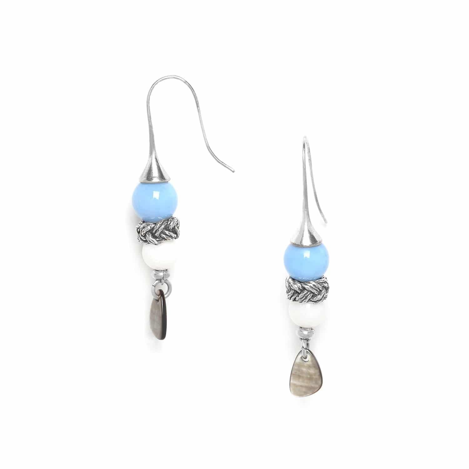 LES CALANQUES hook earrings 3 elements black lip chalcedony and calcite