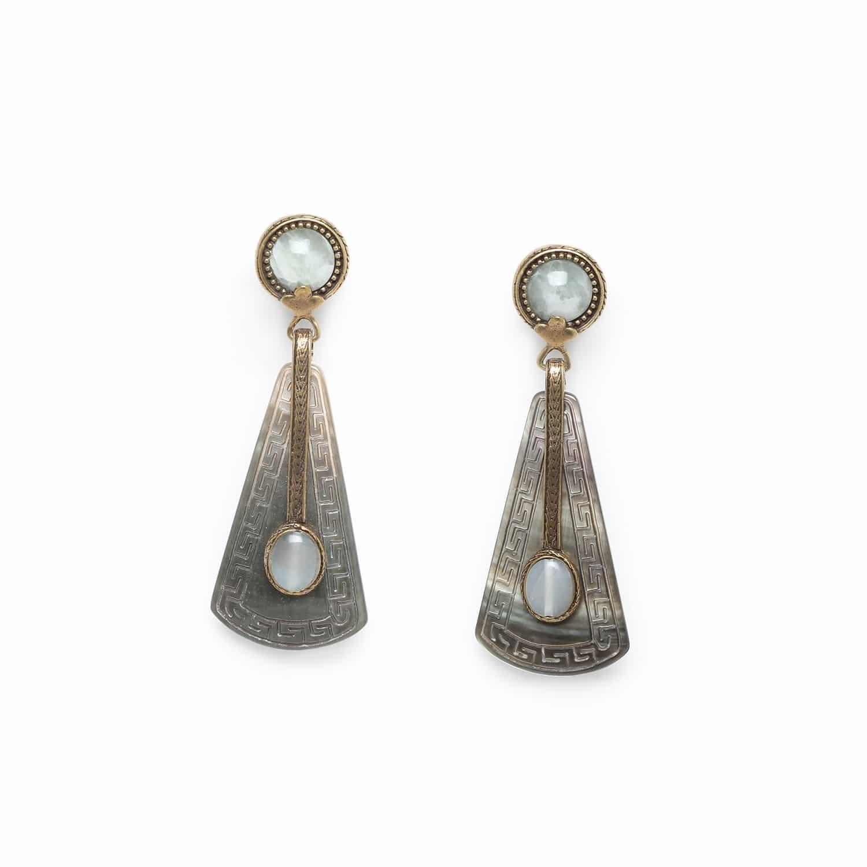 PACHACUTI big earrings jade & blacklip