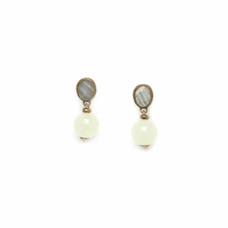 PACHACUTI boucles d'oreilles perle ronde de jade