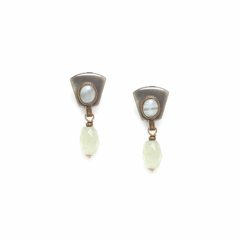 PACHACUTI boucles d'oreilles jade olive