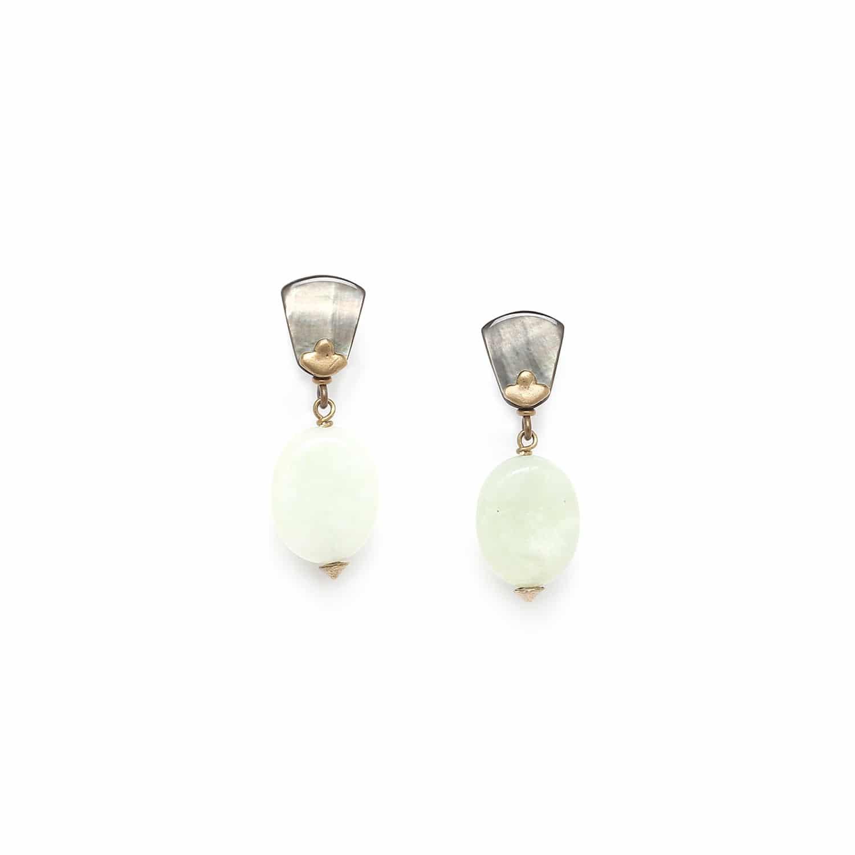 PACHACUTI boucles d'oreilles perle de jade ovale