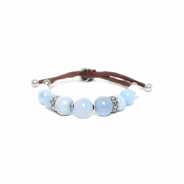 LES CALANQUES  bracelet macramé perles calcédoine et calcite