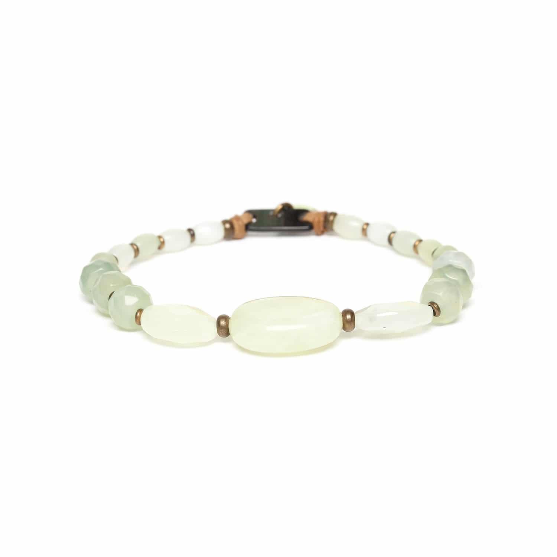 PACHACUTI bracelet extensible de jade & nacre noire