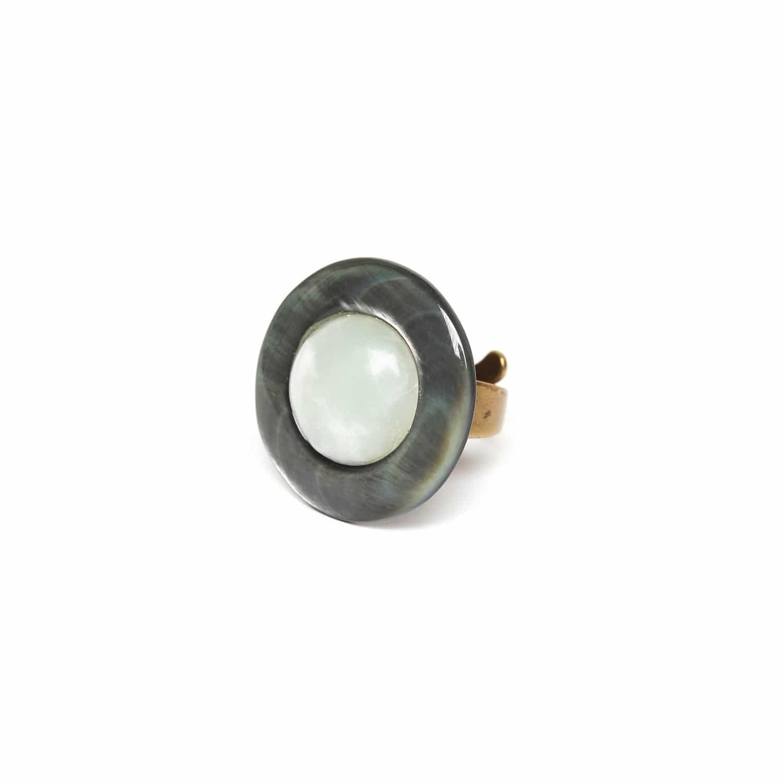 PACHACUTI bague ronde jade & nacre noire