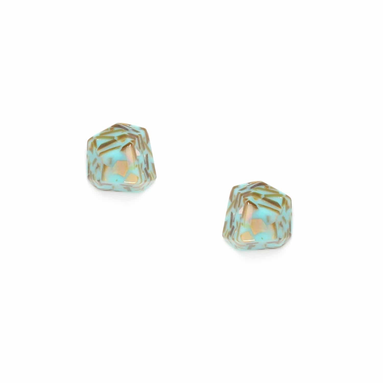 OCTO PUCES  boucles d'oreilles terrazzo turquoise