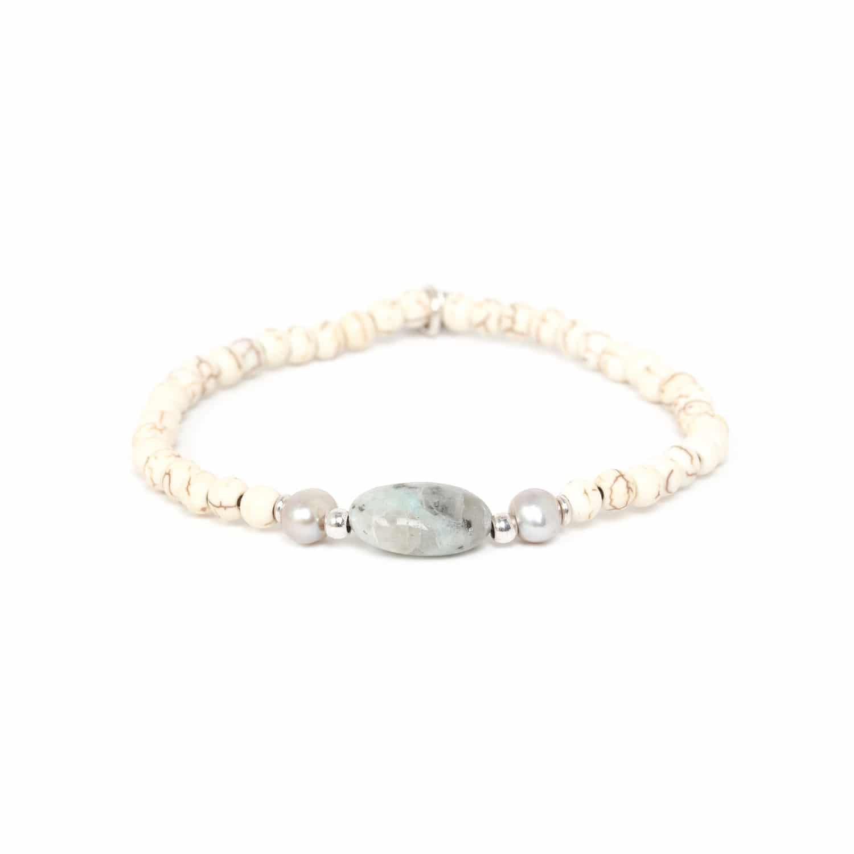 KARMA bracelet jaspe lotus & howlite