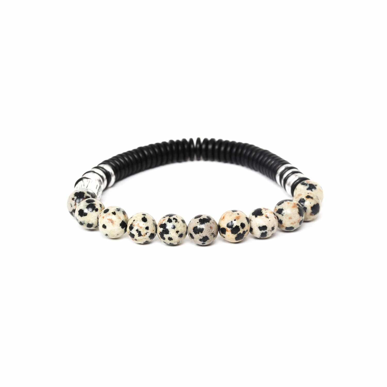 IROQUOIS bracelet extensible jaspe dalmatien