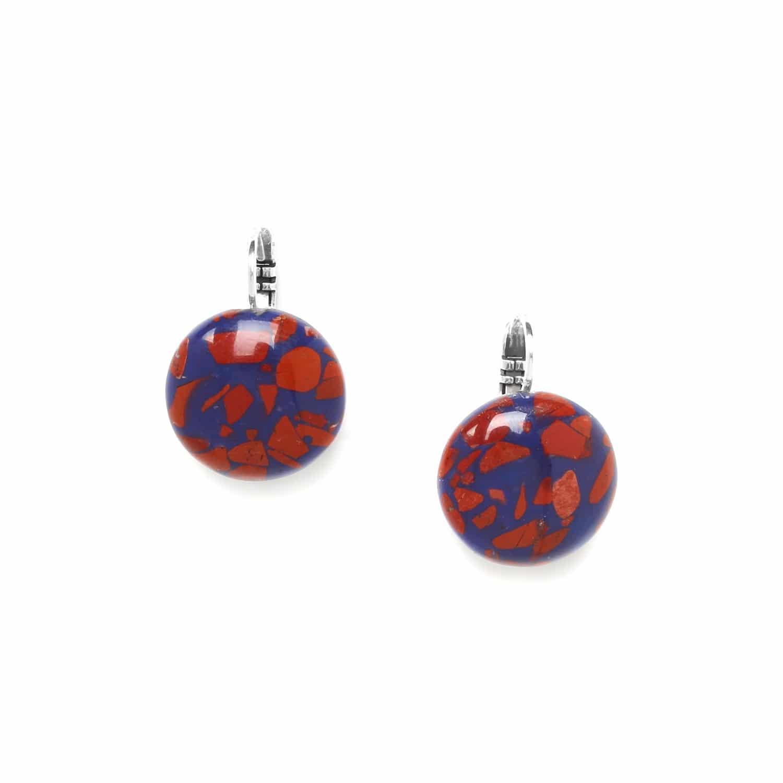 TERRAZZO boucles d'oreilles résine bleu et jaspe rouge