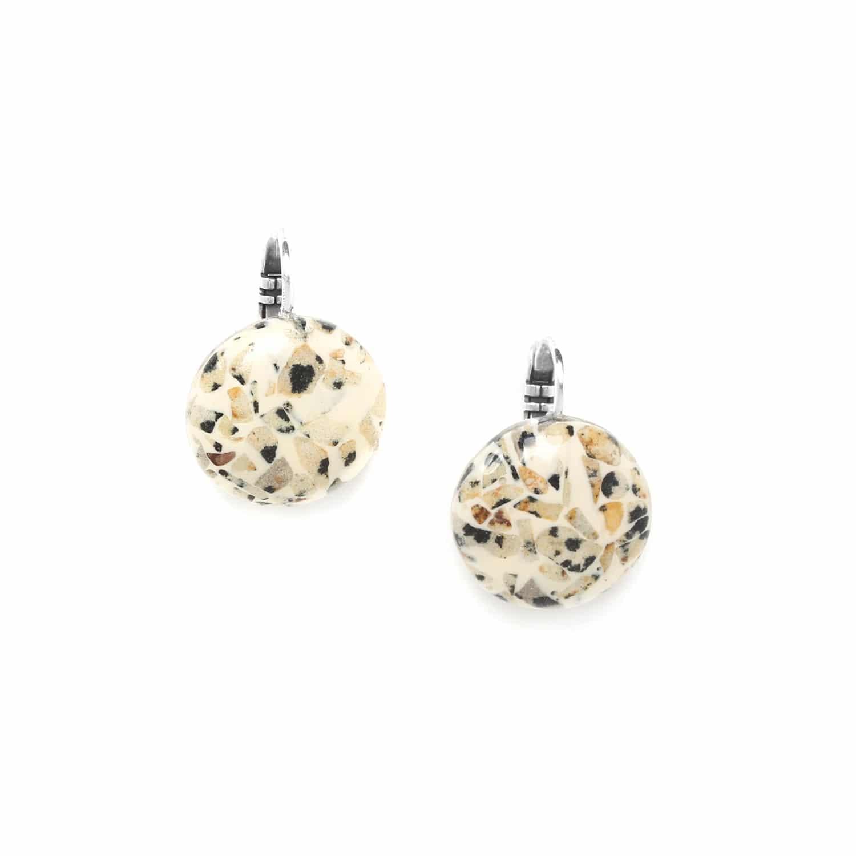 TERRAZZO boucles d'oreilles résine beige & jaspe dalmatien