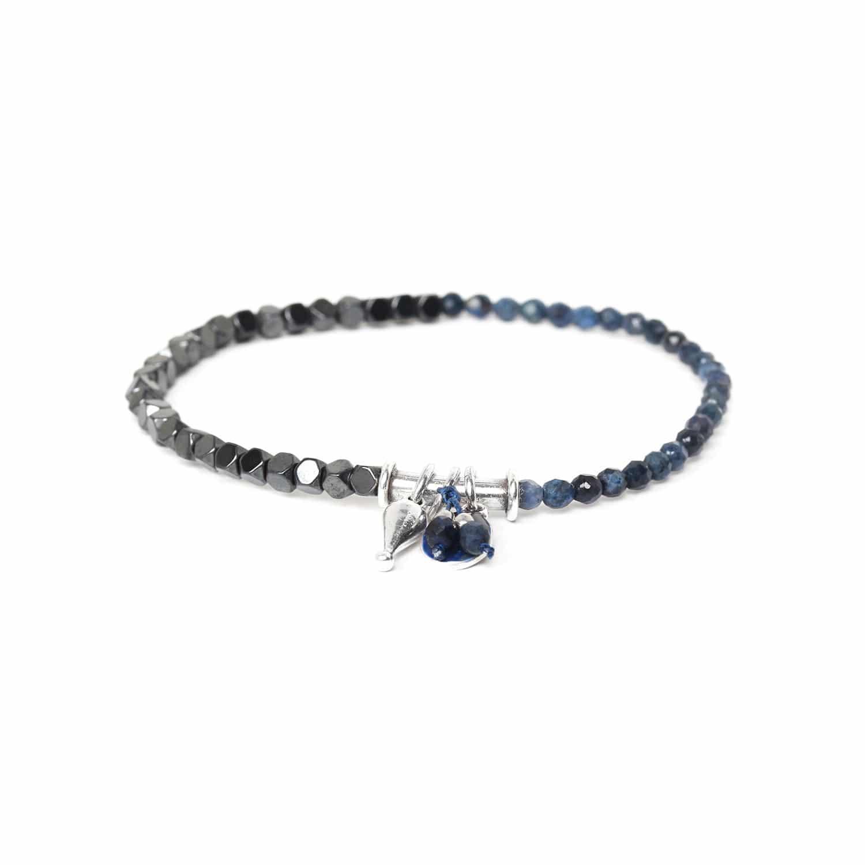 VICE VERSA bracelet extensible dumortièrite & hématite