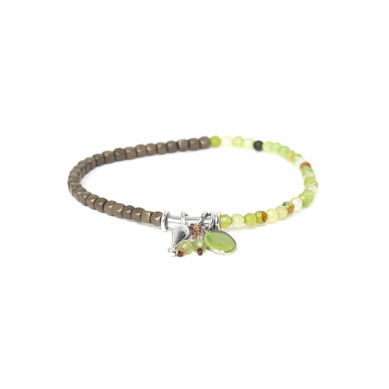 VICE VERSA bracelet extensible agate verte  & hématite