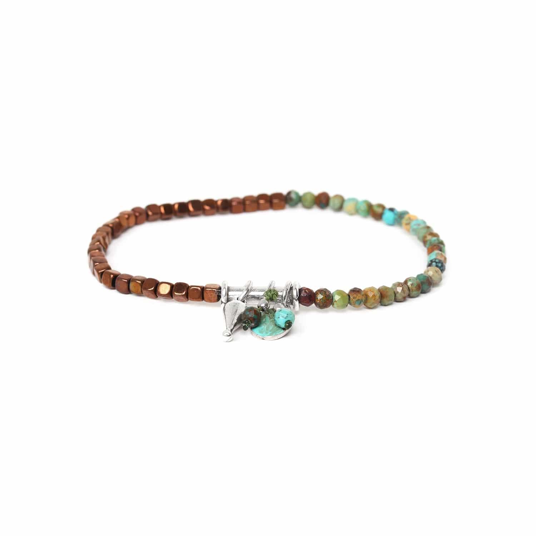 VICE VERSA bracelet extensible turquoise & hématite