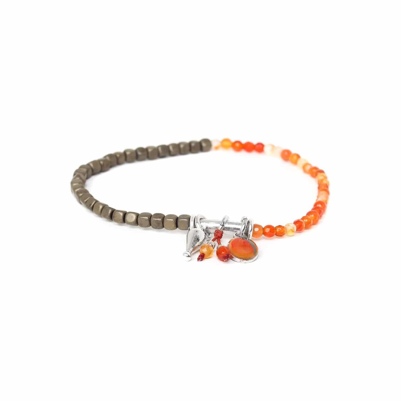 VICE VERSA bracelet extensible agate de feu et hématite