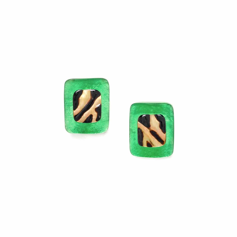 PRECIOUS SAVANNA boucles d'oreilles clips capiz vert et nacre brune
