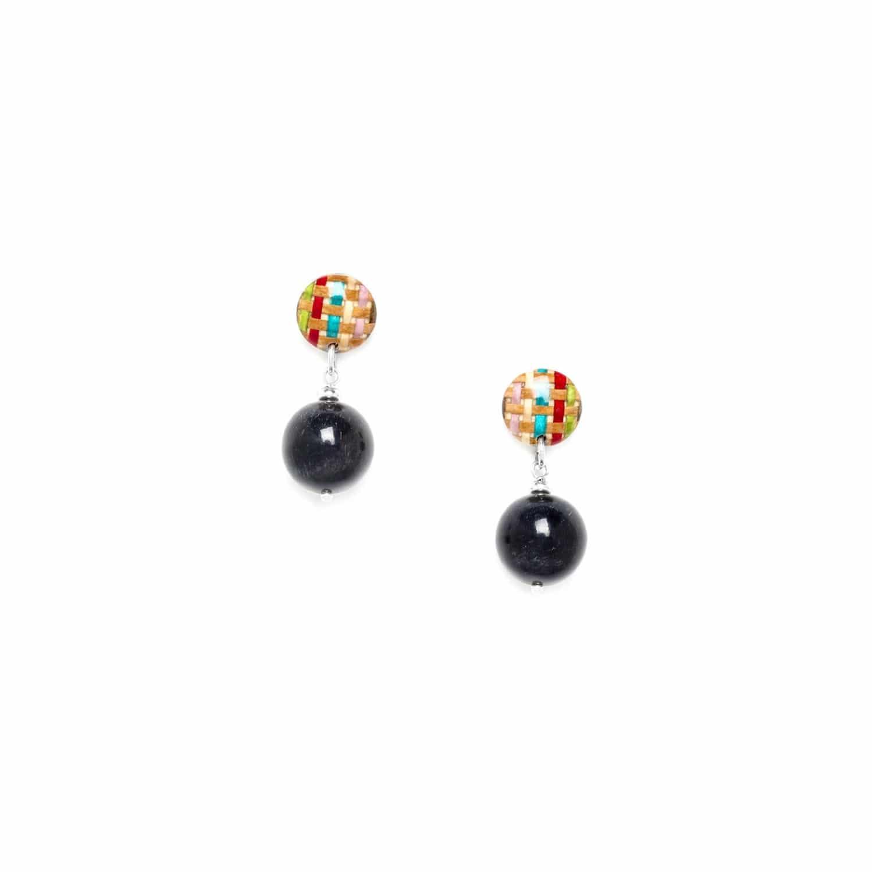 KIMONO boucles d'oreilles perles rondes