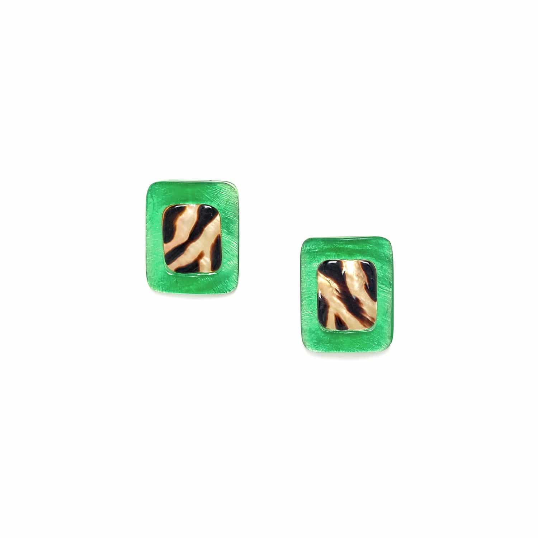 PRECIOUS SAVANNA boucles d'oreilles capiz vert et nacre brune
