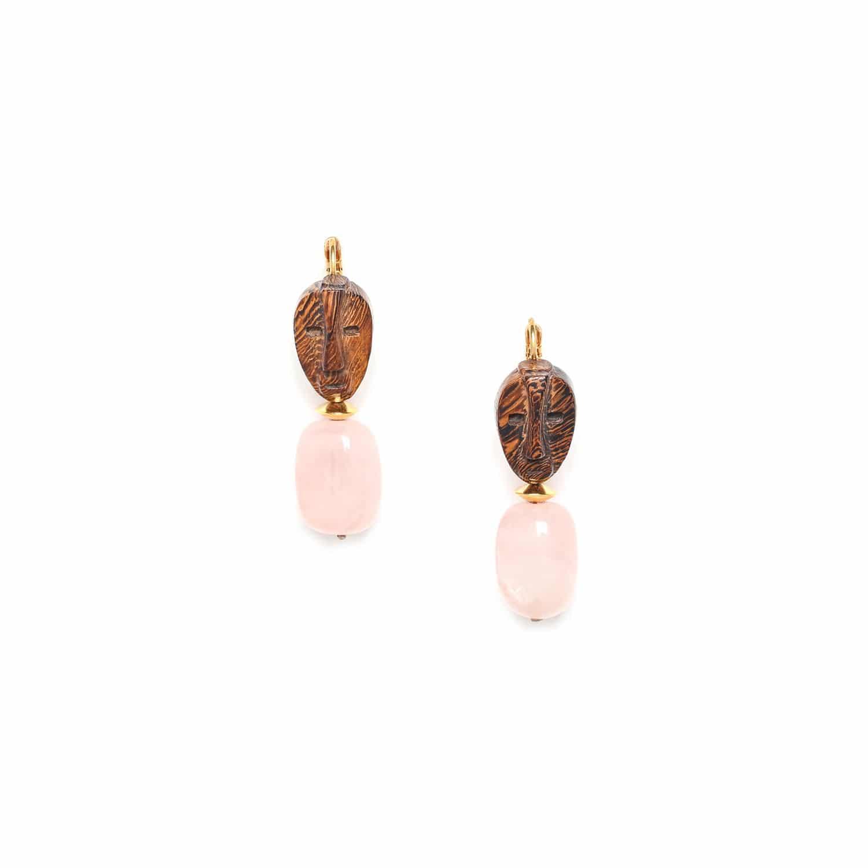 YORUBA boucles d'oreilles dorées quartz rose et bois