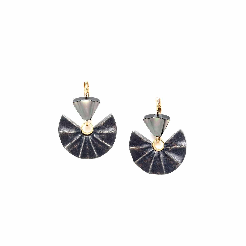 ANDALOUSIE earrings 2 elements black lip and wood