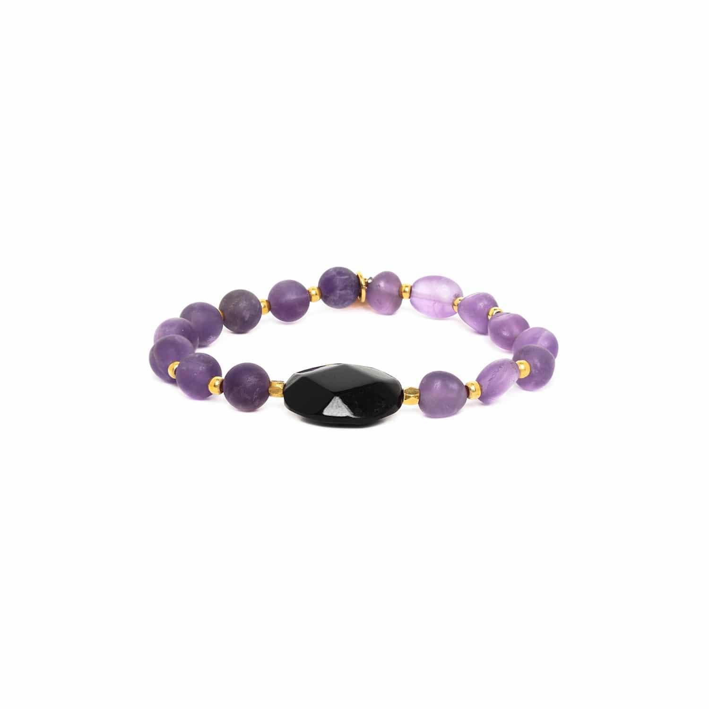 PURPLE RAIN  bracelet extensible perle de corne facettée
