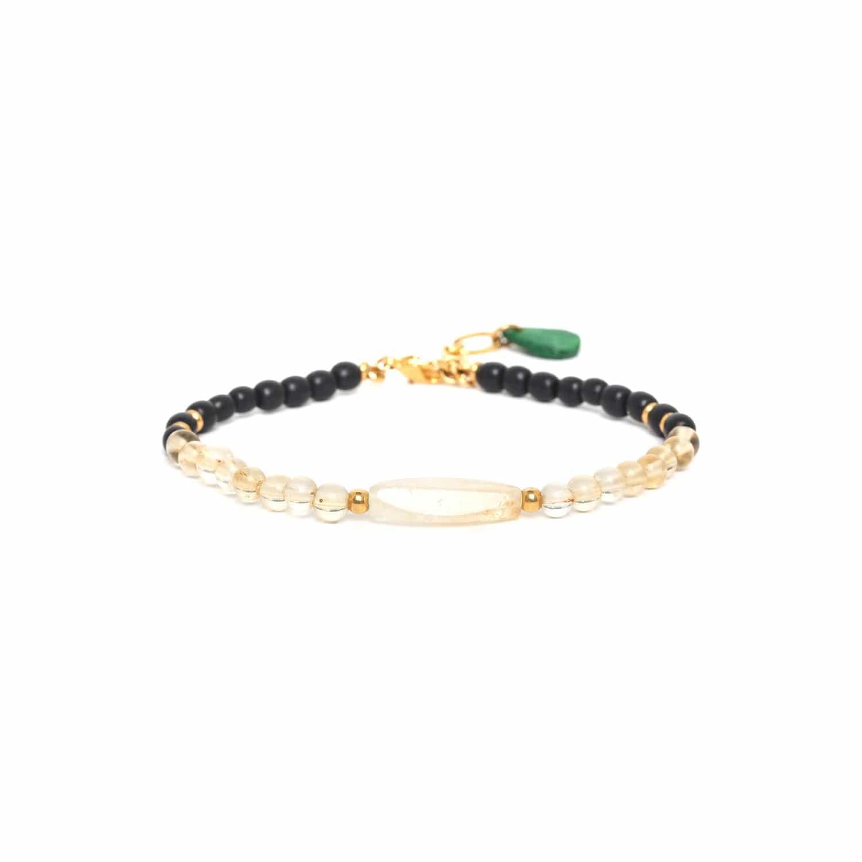 WILD LEAVES bracelet citrine & corne noire