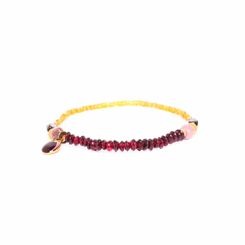 GARDENIA bracelet extensible grenat jaspe et rhodonite