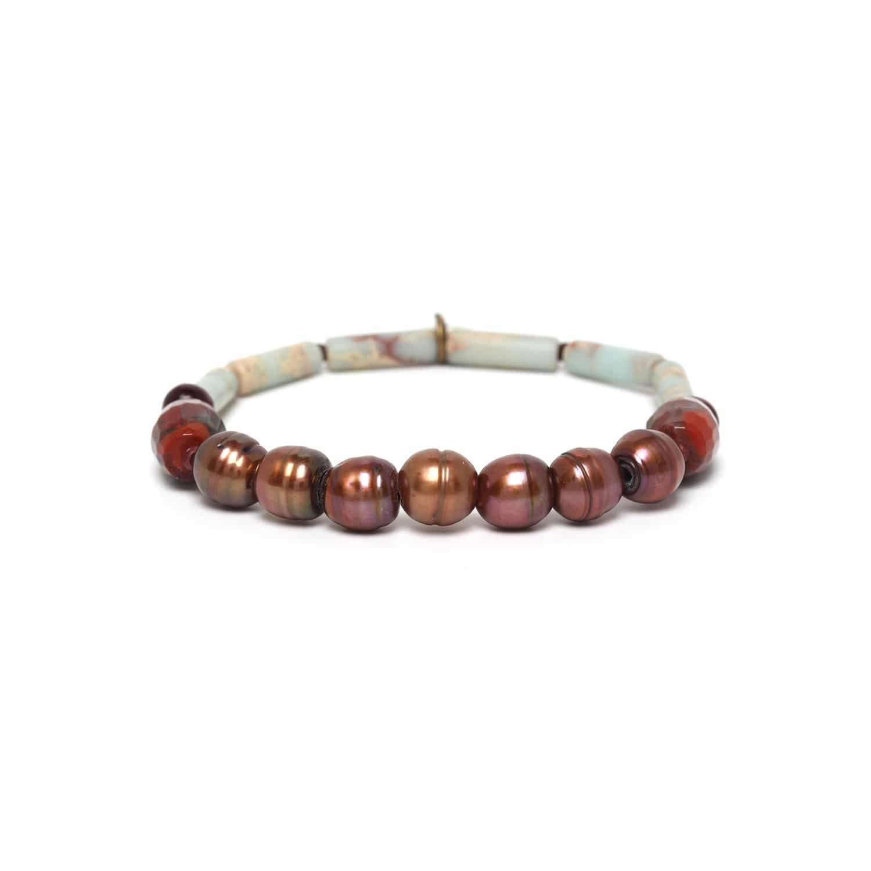 SWEET AMBER bracelet extensible perles de culture et jaspe