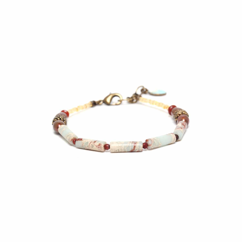 SWEET AMBER bracelet jaspe et perles de culture