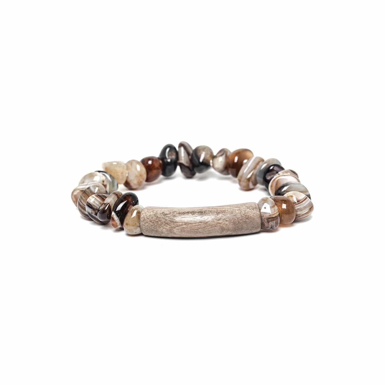 IMPALA bracelet extensible agate et bois