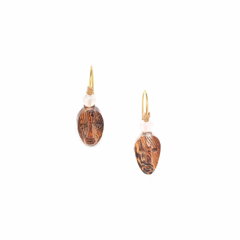 YORUBA boucles d'oreilles en bois perle quartz rose